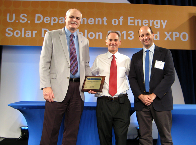 2013 Excellence in Building Science Education Award  [Prof. Patrick Huelman, U MN, Award Winner (Left); Sam Rashkin, DOE (Center); Prof. Andrew McCoy, VA Tech and Chairman, NCHRC (Right)]
