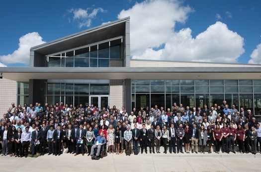 The 2017 Race to Zero Student Design Competition Judging and Awards Event, April 22-23, 2017, involved 39 teams from the U.S., Canada, Brazil and India. Judges and teams stand before the LEED Platinum Café at the National Renewable Energy Lab in Golden, CO